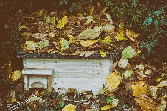 Igelhaus selber bauen für den Winter mit Laub