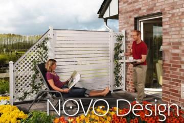 Sichtschutzzaun Kunststoff - Longlife Novo Design weiß