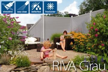 Sichtschutzzaun Kunststoff - Longlife Riva grau