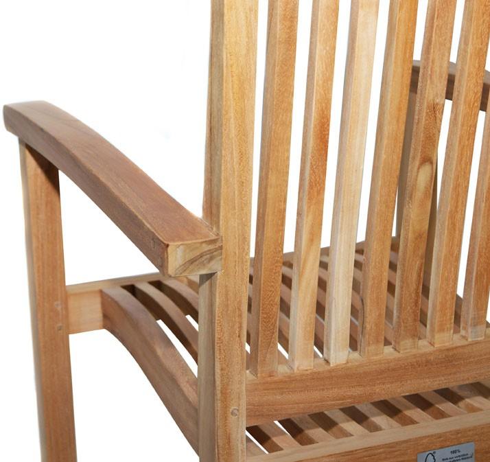 Ploss Gartenmöbel Stapelsessel Arlington mit Armlehnen aus Premium-Teak  60 x 56 x 94 cm - 4er Set