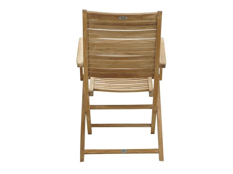 Ploss Gartenmöbel Klappstuhl York mit Armlehnen aus Premium-Teak  55 x 61 x 102 cm