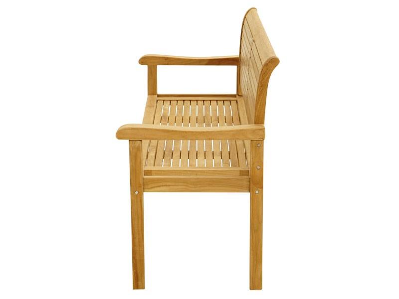 Ploss Gartenmöbel Landhausbank Gartenbank York mit Armlehnen aus Premium-Teak  150 x 59 x 91 cm  3-Sitzer