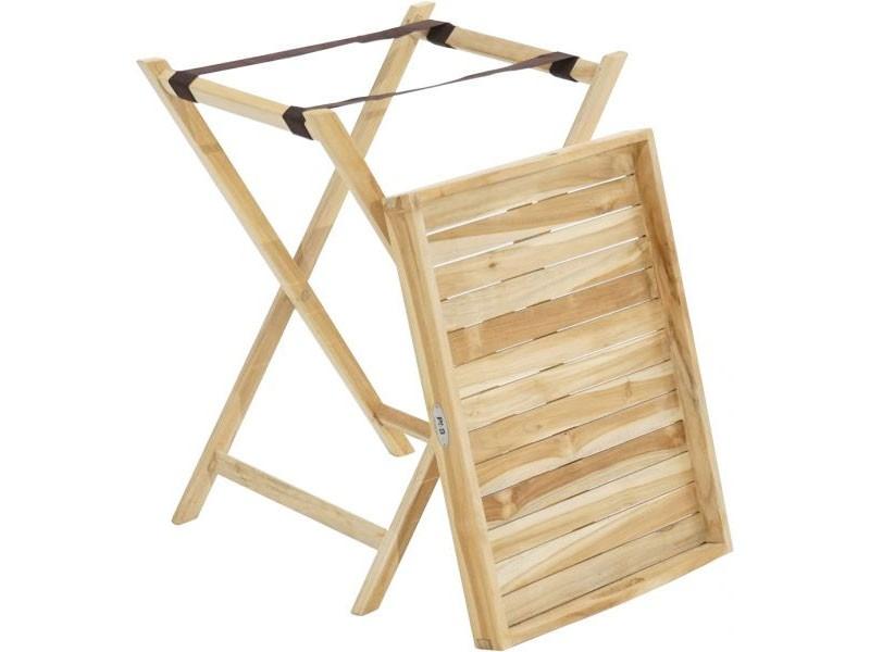 Ploss Gartenmöbel Beistelltisch mit abnehmbaren Tablett aus Teakholz  60 x 45 x 73 cm