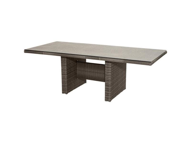 Ploss Gartenmöbel Dining-Tisch Rocking Polyrattangeflecht mit Glasplatte in Steinoptik  220 x 100 x 75 cm  Farbe: grau-bruan-meliert