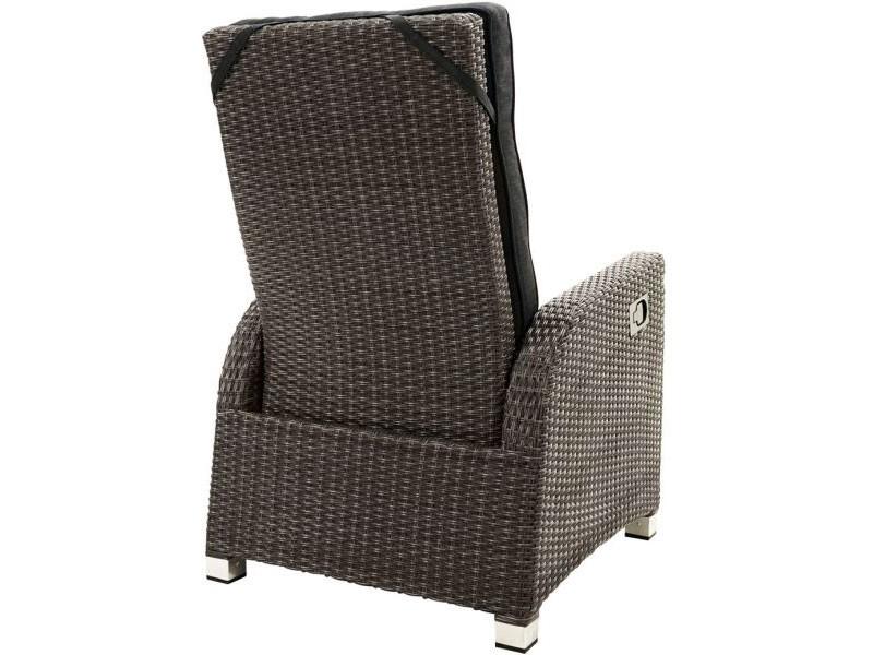 Ploss Gartenmöbel Loungesessel Rocking Rückenlehne stufenlos verstellbar Rattangeflecht  73 x 85 x 112 cm  Farbe: grau-braun-meliert