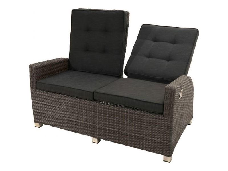Ploss Gartenmöbel Loungesofa Rocking Polyrattan-Sofa mit verstellbarer Rückenlehne stufenlos  148 x 85 x 112 cm  Farbe: grau-braun-meliert