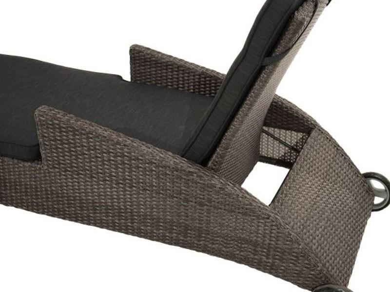 Ploss Gartenmöbel Gartenliege Rolliege Rocking Rückenlehne stufenlos verstellbar Polyrattangeflecht  198 x 68 x 69 cm  Farbe: grau-bruan-meliert