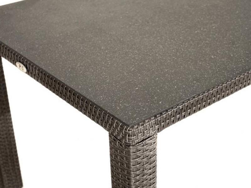 Ploss Gartenmöbel Dining-Tisch Polyrattan Rocking mit Glasplatte in Steinoptik  90 x 90 x 75 cm  Farbe: graun-braun-meliert