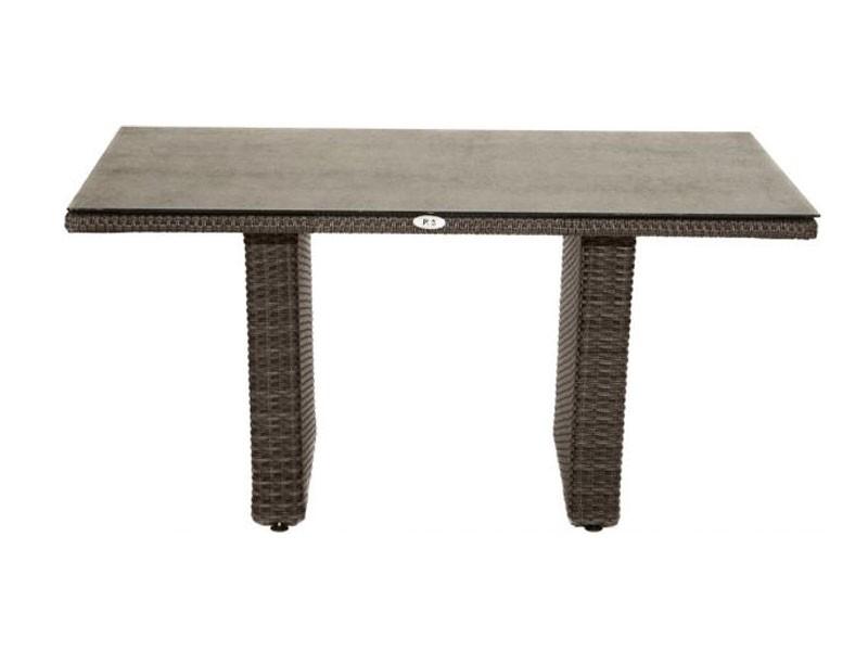 Ploss Gartenmöbel Loungetisch Polyrattangeflecht Rocking mit Glasplatte aus Steinoptik  140 x 85 x 68 cm- Farbe: grau-braun-meliert