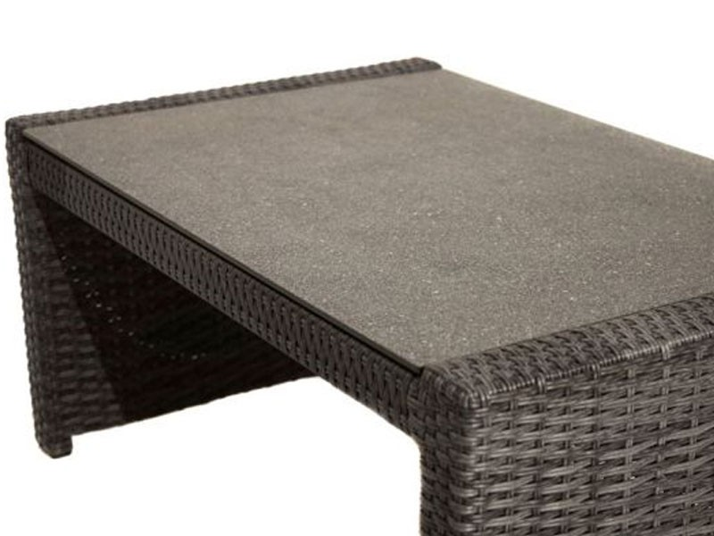 Ploss Gartenmöbel Couchtisch Polyrattangeflecht Rocking mit Glasplatte aus Steinoptik  97 x 60 x 44 cm  Farbe: grau-braun-meliert