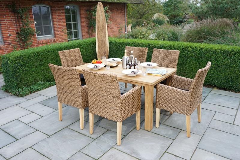 Ploss Gartenmöbel Gartenstuhl Sessel Lotus aus Polyrattangeflecht mit Teakholz Beinen  Farbe: natur