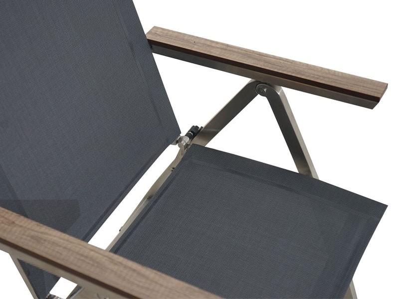 Ploss Gartenmöbel Hochlehner-Klappsessel Hudson Edelstahlrahmen 5-fach-verstellbar  60 x 70 x 112 cm