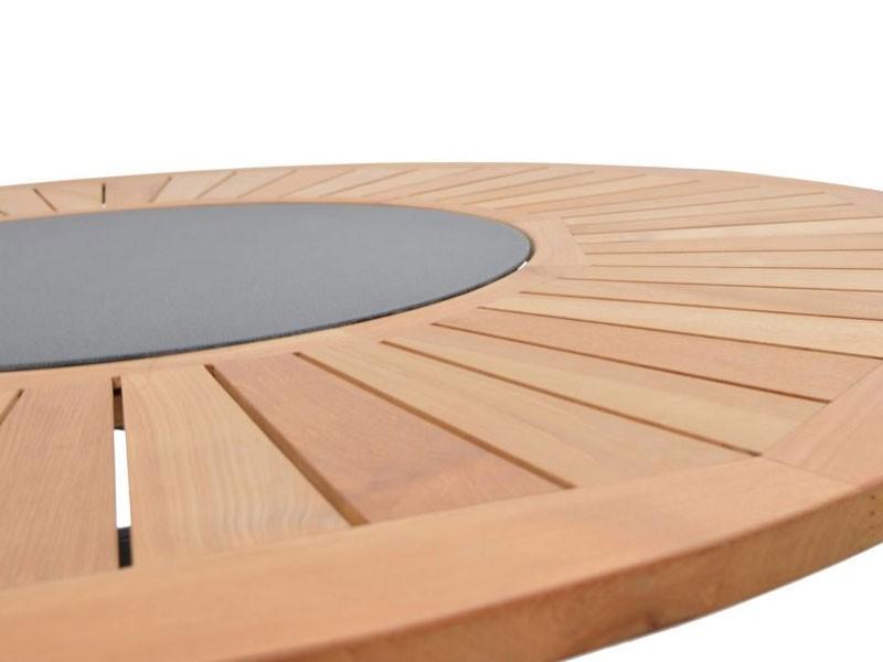 Ploss Gartenmöbel Gartentisch Esstisch Tobago rund Aluminiumgestell mit Teakholzplatte und Drehteller in der Mitte Lazy Susan  rund: 150 x 77 cm