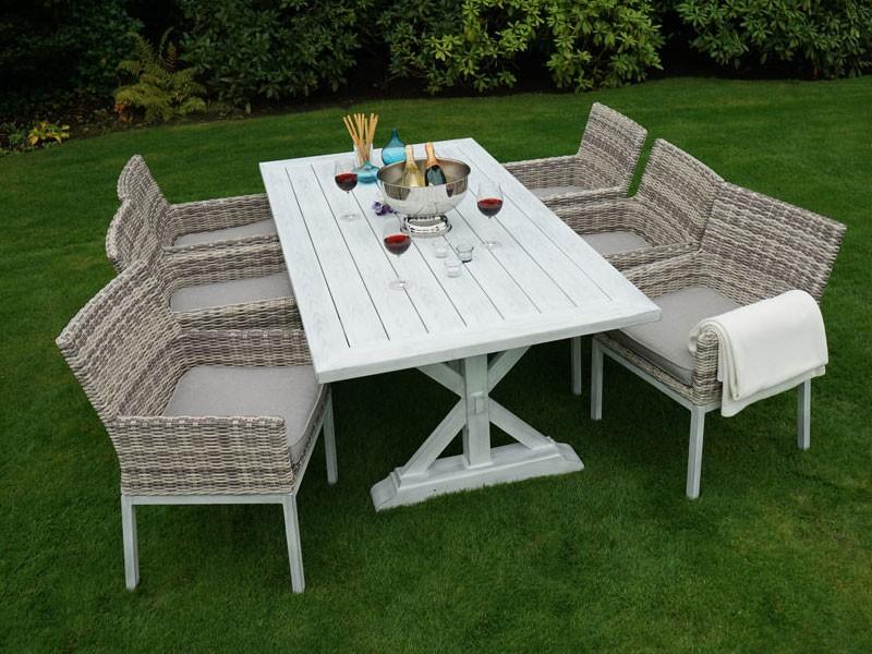 Ploss Gartenmöbel 2er Set Sessel Polyrattangeflecht Denver inkl. Sitzkissen  65 x 67 x 86 cm  Farbe: hellbeige