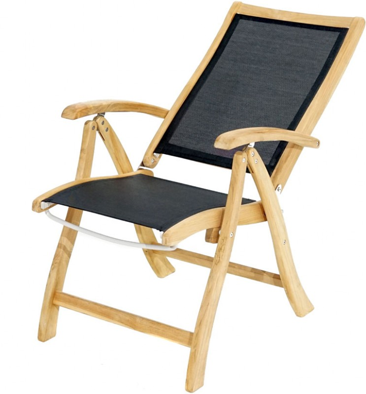 Ploss Gartenmöbel Set 5-teilig - 4 x Klappsessel mit Armlehne Fairchild und 1x Klapptisch Cleveland
