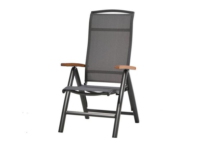 Ploss Gartenmöbel Set Tobago - 4x Klappsessel Hochlehner mit Armlehne und 1x Gartentisch rund - 5-teilig