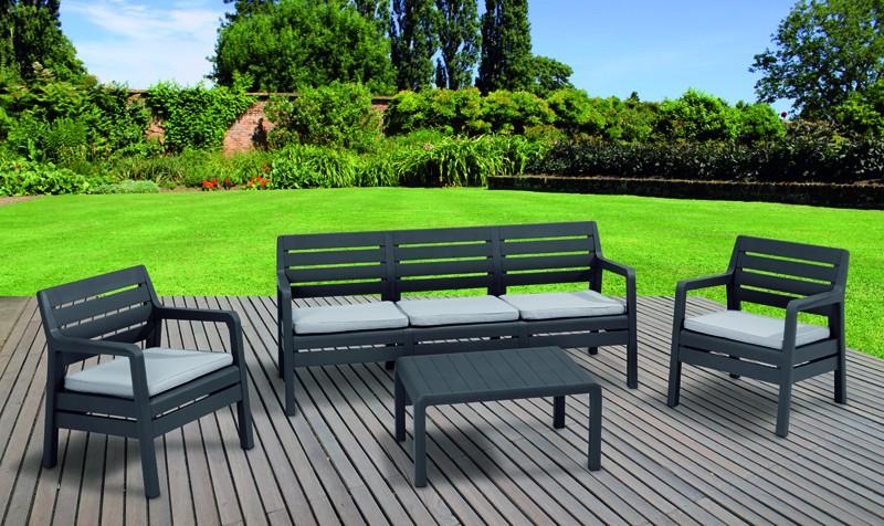 Best Lounge Gruppe Venedig 5 sitze inkl. Polster und Tisch, graphit