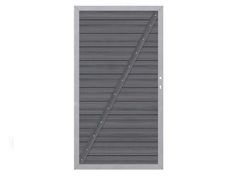 TraumGarten Sichtschutzzaun System WPC XL Platinum Tor DIN links anthrazit - 98 x 180 cm