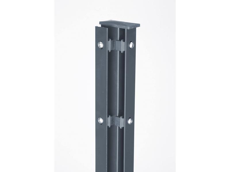 Zaunpfosten Doppelstabgitterzaun Eckpfosten Typ A RAL 7016 Anthrazitgrau  - Länge: 2400 mm
