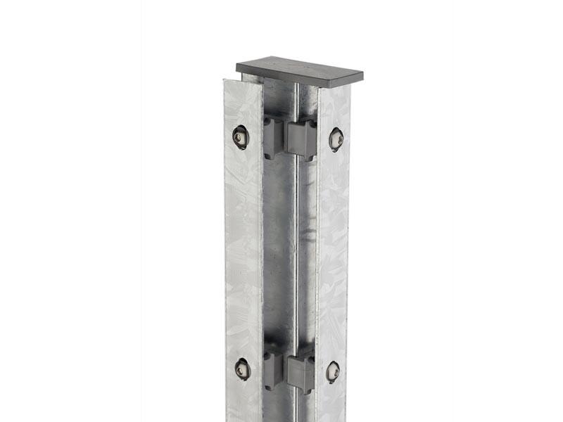 Zaunpfosten Doppelstabgitterzaun Eckpfosten Typ A Silbergrau  - Länge: 3000 mm