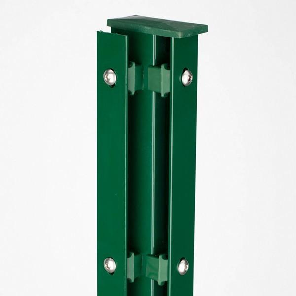 Zaunpfosten Doppelstabgitterzaun Eckpfosten Typ A RAL 6005 moosgrün  - Länge: 3000 mm
