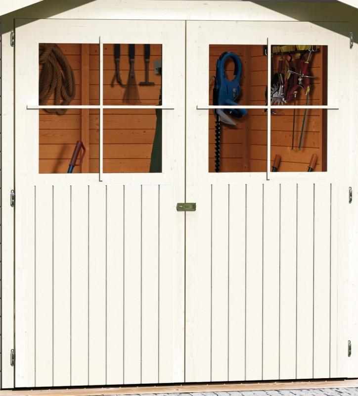 Karibu Holz Gartenhaus Harburg 4 inkl. Türversion classic Farbe: seidengrau