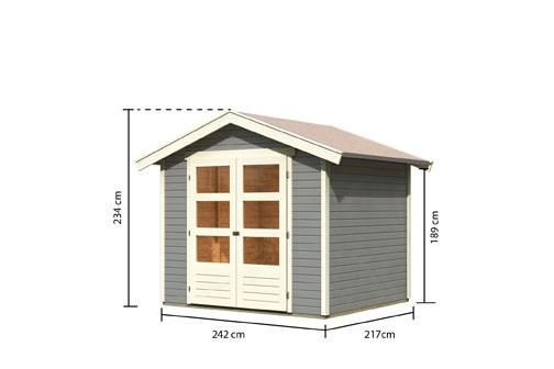 Karibu Holz Gartenhaus Harburg 4 inkl. Türversion modern Farbe: seidengrau