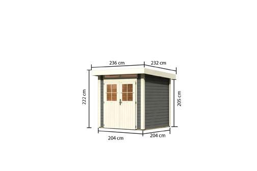 Karibu Holz Gartenhaus Kerpen 1 Farbe: terragrau