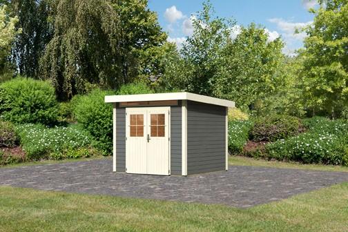 Karibu Holz Gartenhaus Kerpen 2 Farbe: terragrau