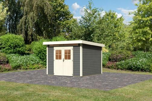 Karibu Holz Gartenhaus Kerpen 3 Farbe: terragrau