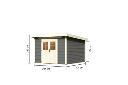 Karibu Holz Gartenhaus Kerpen 4 Farbe: terragrau