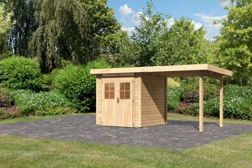 Karibu Holz Gartenhaus Kerpen 1  im Set mit Anbaudach 2,40 m Breite Farbe: naturbelassen