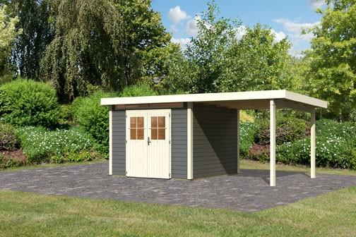 Karibu Holz Gartenhaus Kerpen 3 im Set mit Anbaudach 2,60 m Breite Farbe: terragrau