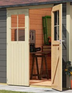 Karibu Holz Gartenhaus Kerpen 5 im Set mit Anbaudach 2,40 m Breite Farbe: terragrau