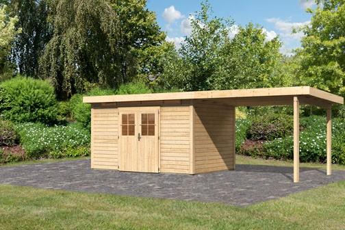Karibu Holz Gartenhaus Kerpen 5 im Set mit Anbaudach 3,0 m Breite Farbe: naturbelassen