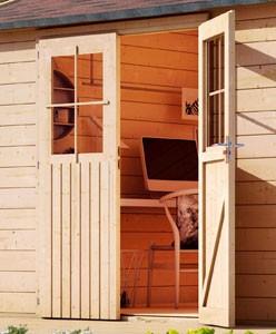 Karibu Holz Gartenhaus Kerpen 5 im Set mit Anbaudach 3,0 m Breite und 28 mm Seiten- und Rückwand Farbe: naturbelassen