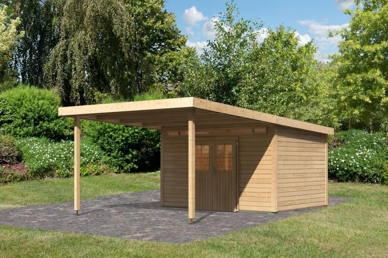Karibu Holz Gartenhaus Meppen 6 inkl. Vordach 3,2 m Farbe: naturbelassen