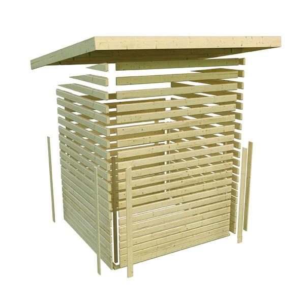 Karibu Holz Gartenhaus Moosburg 3 Türversion classic im Set 3,3 m Anbaudach Farbe: terragrau