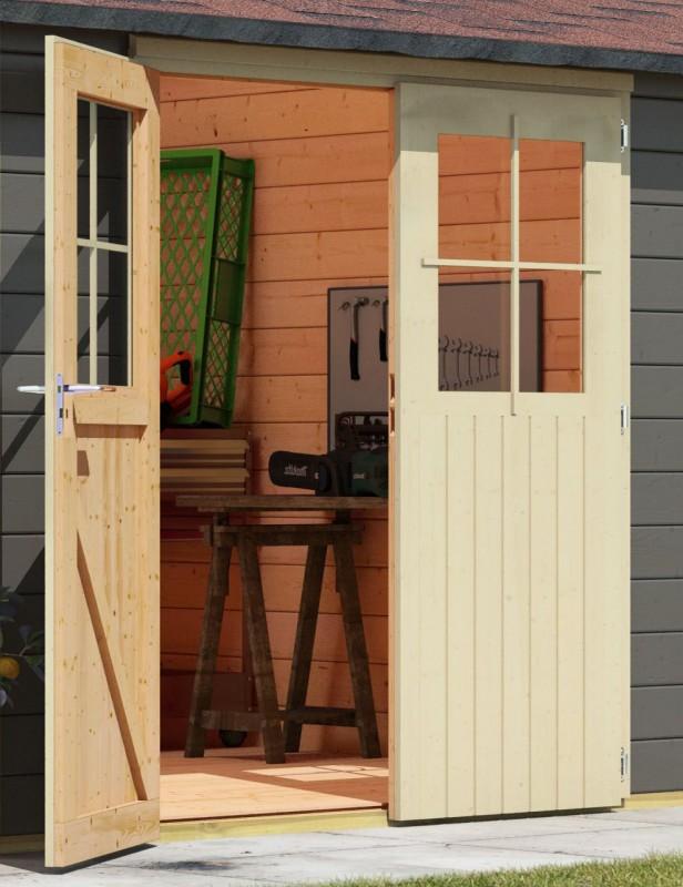 Karibu Holz Gartenhaus Moosburg 3 Türversion classic im Set 3,3 m Anbaudach Seiten- und Rückwand Farbe: terragrau