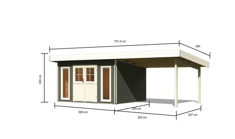 Karibu Holz Gartenhaus Tecklenburg 1 Türversion classic im Set 3,3 m Anbaudach Farbe: terragrau