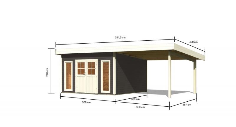 Karibu Holz Gartenhaus Tecklenburg 2 Türversion classic im Set 3,3 m Anbaudach Farbe: terragrau