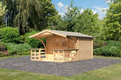 Karibu Holz Gartenhaus Buxtehude 3 inkl. Vordach und Terrasse Farbe: naturbelassen