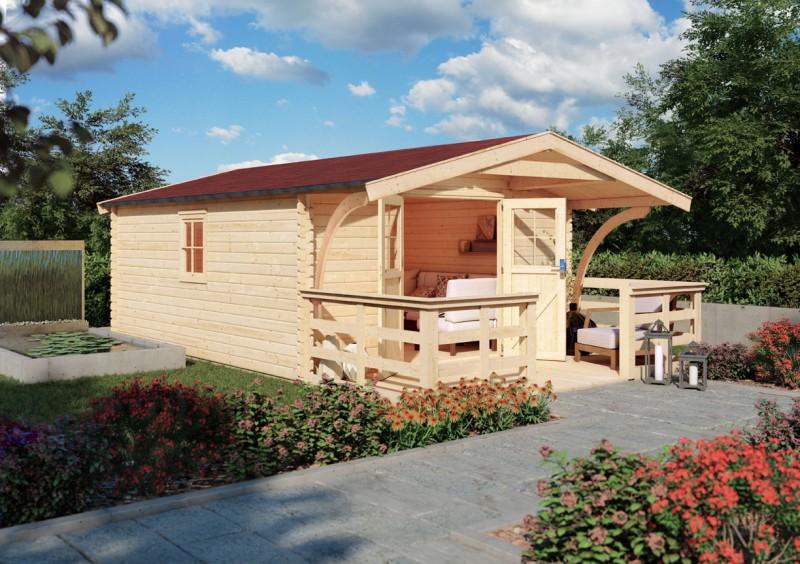 Karibu Holz Gartenhaus  Mühlheim 6 inkl. Vordach und Terrasse Farbe: naturbelassen