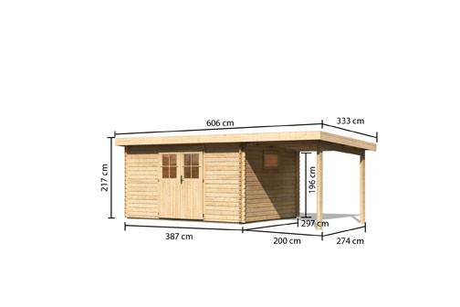 Karibu Holz Gartenhaus  Torgau 5 im Set mit Anbaudach 2,3 m Farbe: naturbelassen
