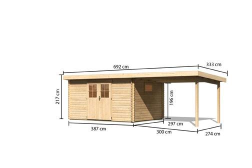 Karibu Holz Gartenhaus  Torgau 5 im Set mit Anbaudach 3,3 m Farbe: naturbelassen