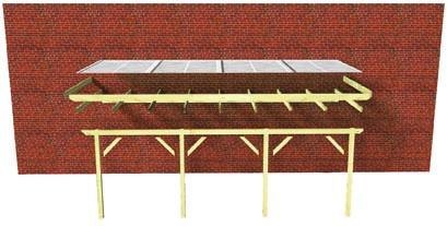 Karibu Terrassenüberdachung Modell 3 Größe B (besteht aus Modell 1 + 1 x Verlängerungspaket) Farbe: Silbergrau mit Dacheindeckung(10mm Doppelstegplatten)