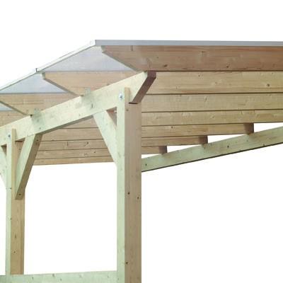 Karibu Terrassenüberdachung Modell 2 Größe A Farbe: Schneeweiß mit Dacheindeckung(10mm Doppelstegplatten)