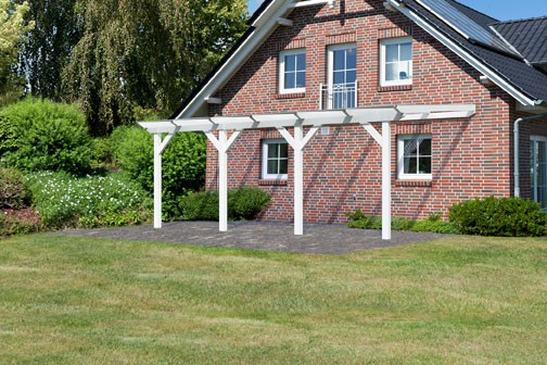 Karibu Terrassenüberdachung Modell 3 Größe C (besteht aus Modell 1 + 2 x Verlängerungspaket) Farbe: Schneeweiß mit Dacheindeckung(10mm Doppelstegplatten)