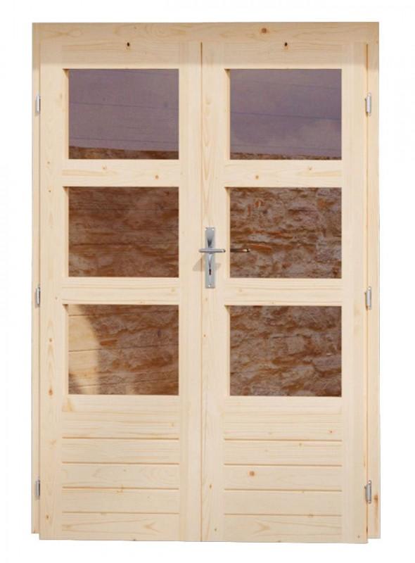 Karibu Holz Doppelflügeltür 40 mm inkl. Türschloss und Rahmen  Farbe: naturbelassen