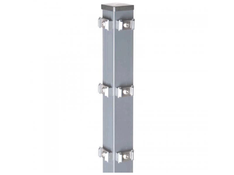 Zaunpfosten Doppelstabgitterzaun Eckpfosten Typ PM Silbergrau  - Länge: 2200 mm